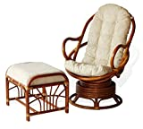 Product review for Java Swivel Rocking Chair Colonial Handmade Natural Wicker Rattan Furniture With Ottoman Krit Colonial