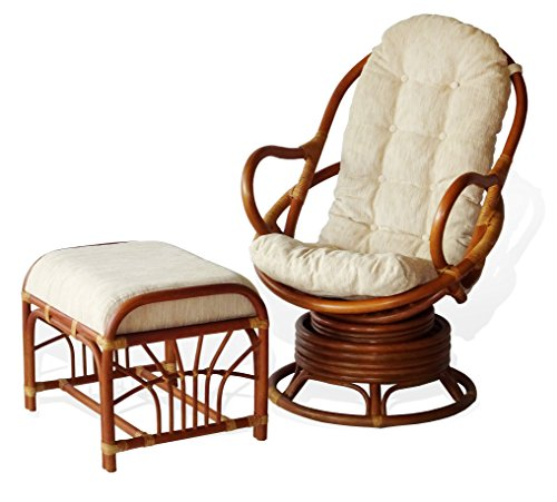 Lounge Set of 2: Swivel Rocking Java Chair Natural Rattan Wicker Handmade and Ottoman Krit with Cream Cushion, Cognac
