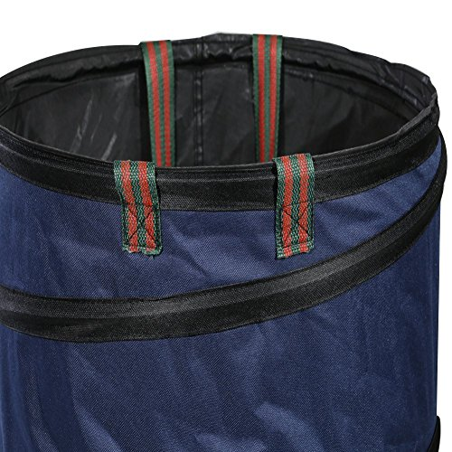 Mokylor 23 Gallon Pop Up Garden Waste Bag, Camping Trash Garbage Can, Reusable Gardening Lawn and Leaf Container for the Trash Waste Laundry Compost Refuse, Dark Blue by Mokylor (Image #1)