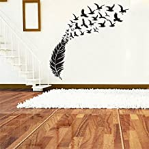 New Flying Feather Bird Flying Art Deco Sticker PVC Removable Wall Decal (black)