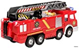 Memtes Electric Fire Truck Toy with Lights and Sirens Sounds, Extending Ladder and Water Pump Hose to Shoot Water, Bump and Go Action