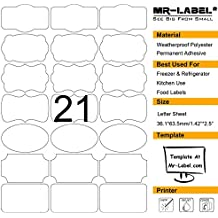 Mr-Label 7 Types of Fancy Shape White Waterproof Adhesive Labels on Letter Sheet - Tear-resistant Bottle Stickers for Kitchen Use - Inkjet & Laser Printer Support (10 sheets/ totally 210 Labels)