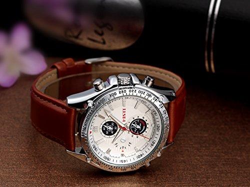 Men's White Decorative Chron Dial Brown Pu Leather Strap Quartz Movement Wrist Watch