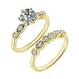 0.85 Carat G-H I2-I3 Diamond Engagement Wedding Anniversary Halo Bridal Ring Set 14K Yellow Gold