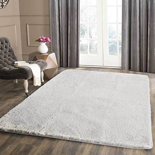 Seavish Shag Area Rug 4'x 5.3' Ultra Soft Faux Angora Rabbit Fur Accent Rug Luxury Fluffy Bedside Throw Mats Floor Covering for Nursery Living Room Bedroom with Non Skid Backing Ivory, 4'W x 5.3'L
