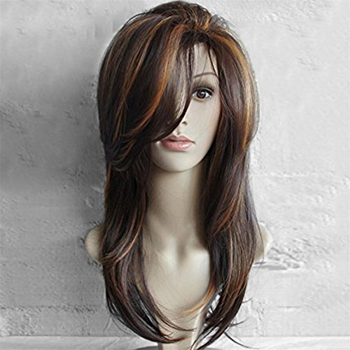 """Aibelly 17"""" Synthetic Full Wig Long Side Bang Layered Natural Straight Colormix Hair Wig Fashion Noble Women's Parting Heat Resistant Replacement"""