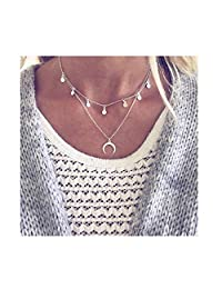 doublelovely Moon Coin Choker Boho Chain Multilayer Necklace for Women Pendants