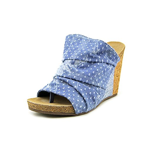Coconuts By Matisse Tower Women US 10 Blue Wedge (Denim Canvas Footwear)