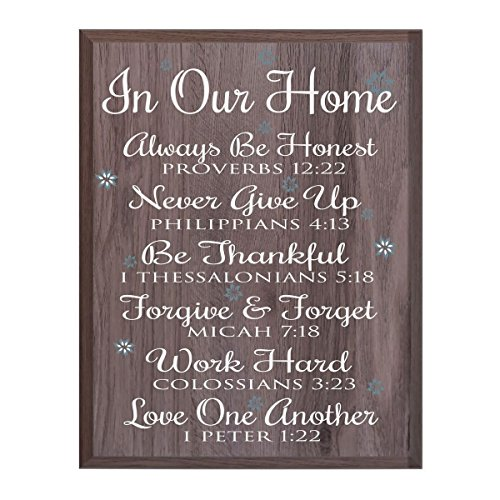In Our Home Family wedding anniversary Housewarming Gift for husband wife Parents, New Home Christian gift ideas 12 Inches w X 15 Inches By Dayspring Milestones (Salt Oak)