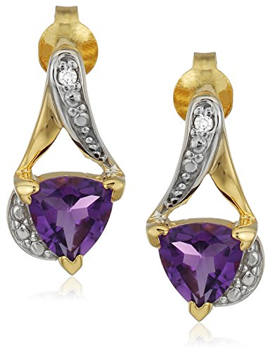 Sterling Silver Trillion-Cut Amethyst and Diamond Accent Stud Earrings Trillion Cut Earring