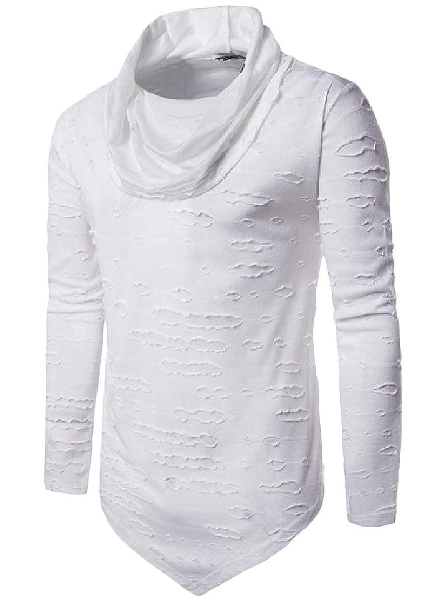 Winwinus Men Pure Colour Long-Sleeve Ripped Destroyed Irregular Hem Funnel Neck Tees