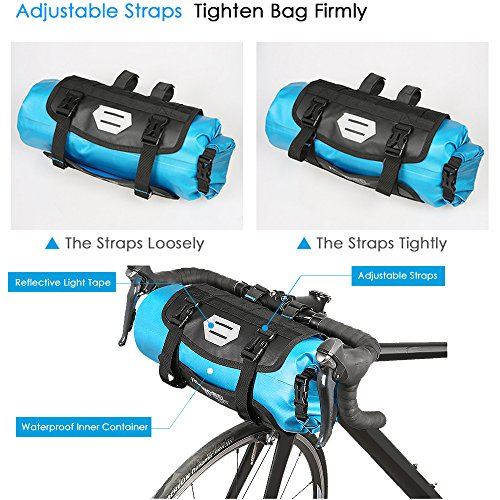 Roswheel 100% Wasserdicht Fahrradlenkertasche Einstellbarer Volumen 3L bis 7L Fahrradtasche für den Lenker Aufrollbare Öffnung Lenkertaschen Φ15 x H40cm aus Polyester mit Fahrradfrontlicht Schnittstel