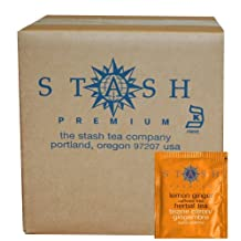 Stash Tea Lemon Ginger Herbal Tea Bags, 100-Count Box