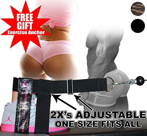 XTREME Dual Adjustable ANKLE FOOT STRAP Ass Stryker in Black or Camouflage - Targets the GLUTES, Hips, Legs & Core - Designed for Men & Women ... (Black)