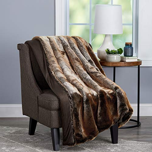 Lavish Home Throw-Luxurious, Hypoallergenic Premium Zobel Marten Sable Fur Blanket with Faux Mink Back and Gift Box, 60x70