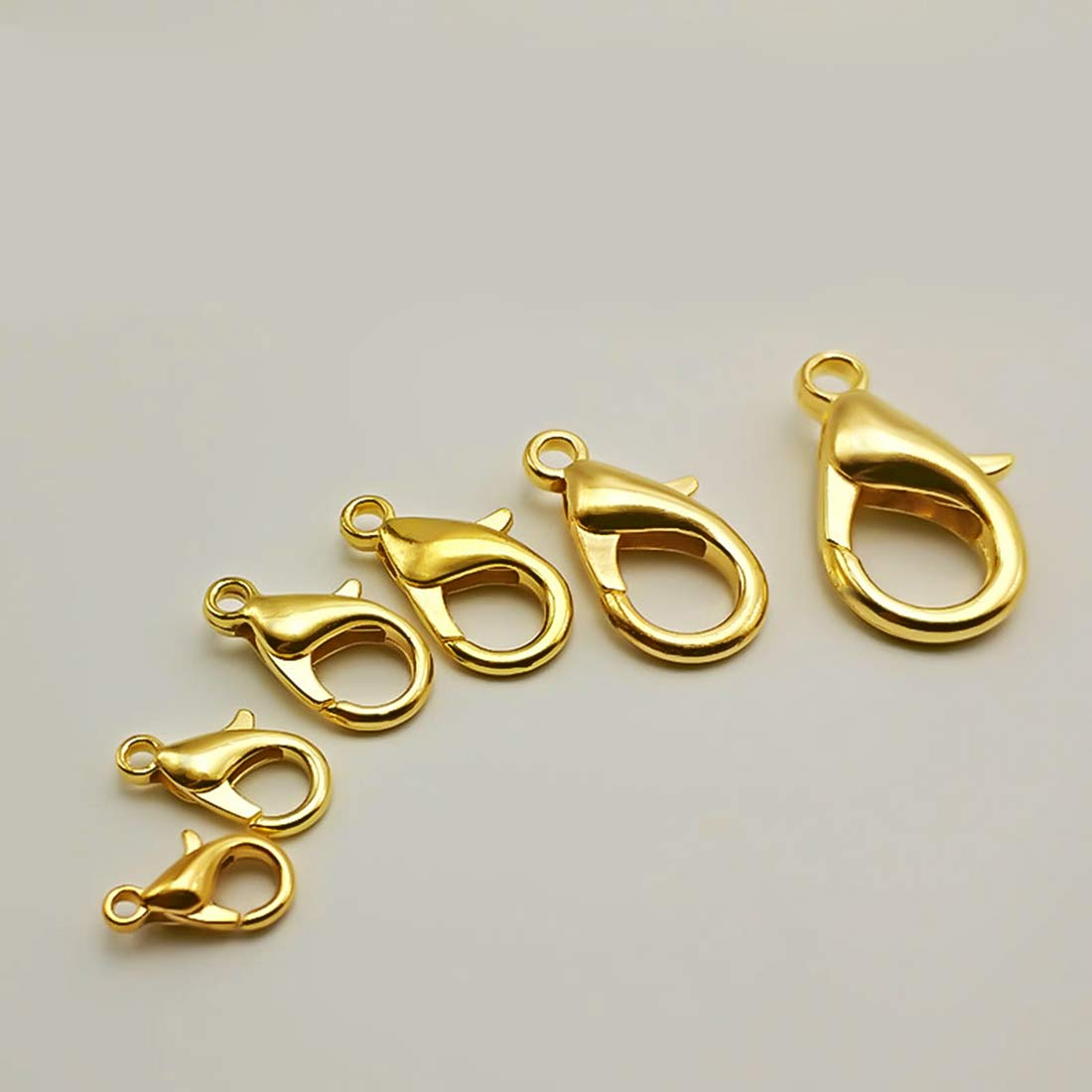 Sdootjewelry 180 Pcs Gold Plated Jewelry Lobster Claw Clasps Findings 6 Sizes Lobster Clasps