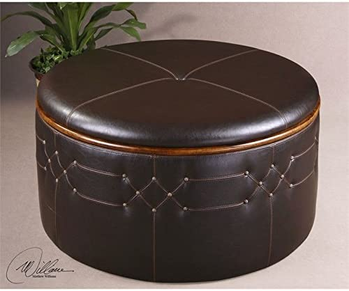 Uttermost Brunner Faux Leather Storage Ottoman in Sable Brown