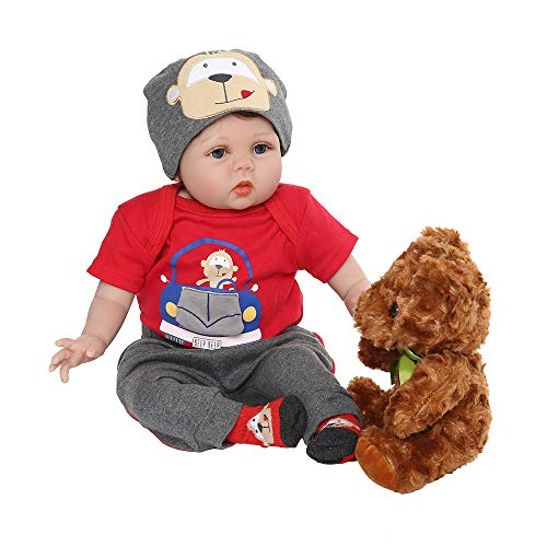 Yesteria Real Life Reborn Baby Dolls Boy Realistic Newborn Red Outfit with Toy Bear 22 Inches from Yesteria