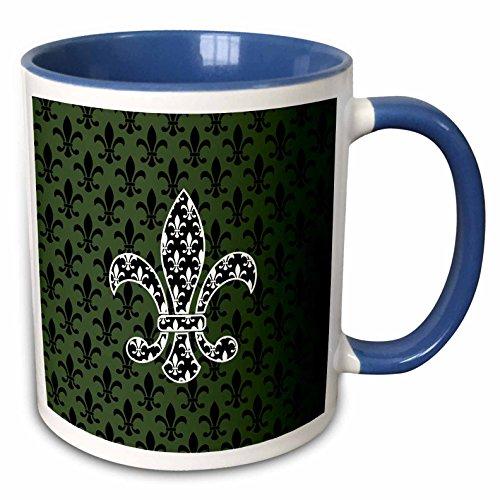 3dRose Russ Billington Patterns - Black and White Fleur de Lys over green and black Pattern - 15oz Two-Tone Blue Mug (mug_220245_11)