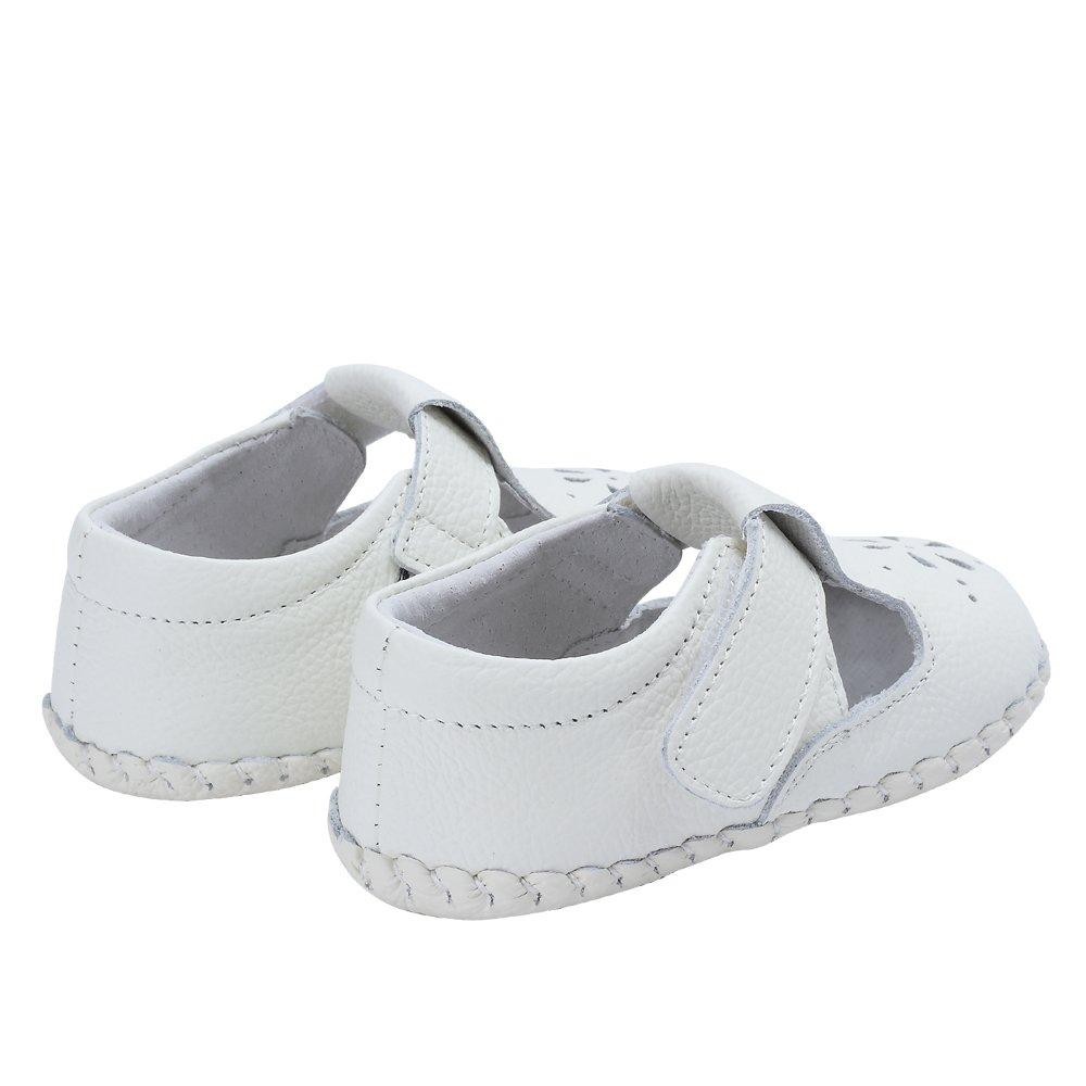 Kuner Baby Girls Genuine Leather Anti-Slip Summer Prewalker Toddler Sandals First Walkers Outdoor Shoes (12.5cm(12-18months), White-2) by Kuner (Image #7)