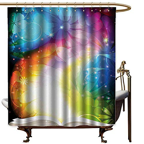 StarsART Shower Curtains Fabric Kids Magic Decor,Psychedelic Open
