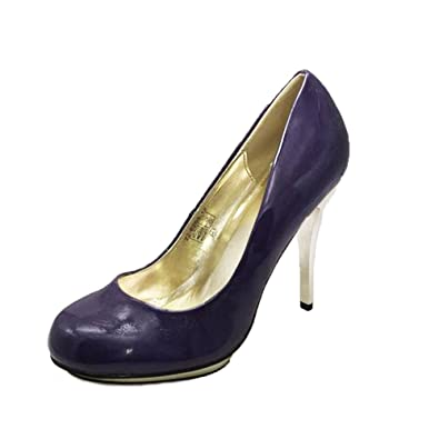 06edaba0b31 Purple Patent Rounded to Court Shoes with Gold Metal Stiletto high Heel   Amazon.co.uk  Shoes   Bags