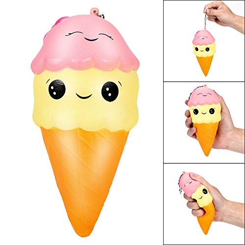 SFEHEO 18cm Squishies Cartoon Ice Cream Slow Rising Squeeze Scented Stress Reliever Toy ()