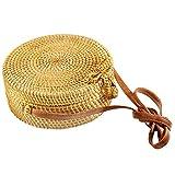 Senvina Round Rattan Bag (Rattan Clasp) w/ Bonus 1 Pair of Cute Rattan Earrings