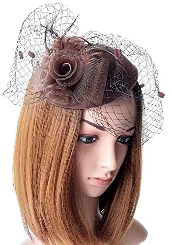 Fascinator Womens Pillbox Hat British Bowler Hat Flower Veil Wedding Hat Tea Party Hat (Coffee) by Coolwife