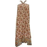Bohochic Magic Wrap Skirt Brown Silk Sari Reversible Beach Wear