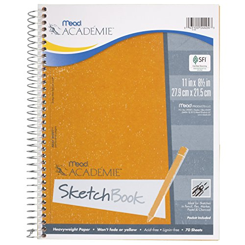 043100544043 - Mead Acadmie Spiral Sketchbook / Sketch Pad, Heavyweight Paper, 70 Sheets, 11 x 8.5 Inch Sheet Size (54404) carousel main 0