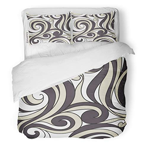 Semtomn Decor Duvet Cover Set King Size Pattern Modern Floral Endless Abstract Fancy Ornate Scrolls 3 Piece Brushed Microfiber Fabric Print Bedding Set Cover