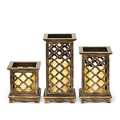 Set of 3 Flameless Bronze Wood Moroccan Lanterns with Water Resistant Ivory Candles and Warm White LEDs, Batteries Included, 8 Function Remote Included, Timer and Dimmable Options, Indoor/Outdoor Use (White Wooden Lanterns Decorative)