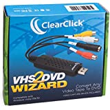 ClearClick VHS To DVD Wizard with USB Video Grabber & Free USA Tech Support
