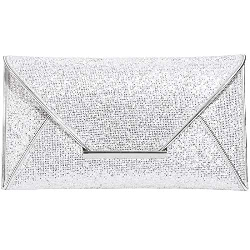 (St. Jubileens Women Glitter Sequins Envelope Evening Bag Handbag Party Bridal Clutch Purse (Silver))