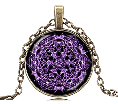 Gemingo Amazing Purple Choker Necklace Glass Dome Screen Life Tree Necklace Golden Jewelry For Men (Golden)