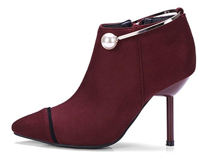 Aisun Damen Spitz Zehen Knöchelhohe Metallic Perlen Stiletto Stiefel Mit Reißverschluss Rot 46 EU RcBfzEXBCP