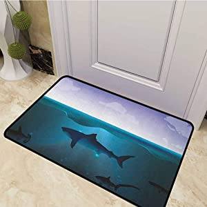 DESPKON Floor Mat Wild Sharks Swimming in Sea Atlantic Ocean Peace Clouds Marine Design Front Doormat Rugs for Indoor Outdoor, Easy Clean Violet Petrol Blue 20 x 31 Inch
