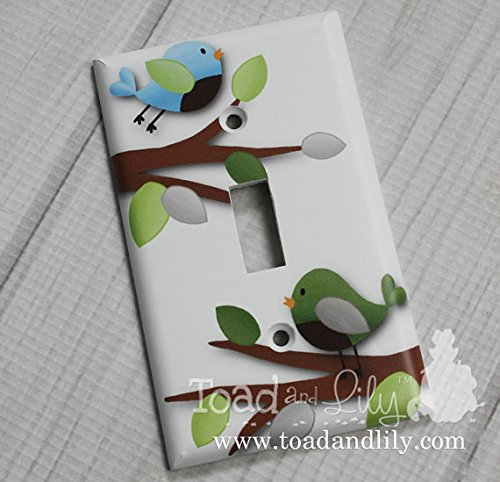 Treetop Birdie Birds Forest Woodland Boys Bedroom Baby Nursery Light Switch Cover LS0069 (Single Standard) Toad and Lily LS0069a