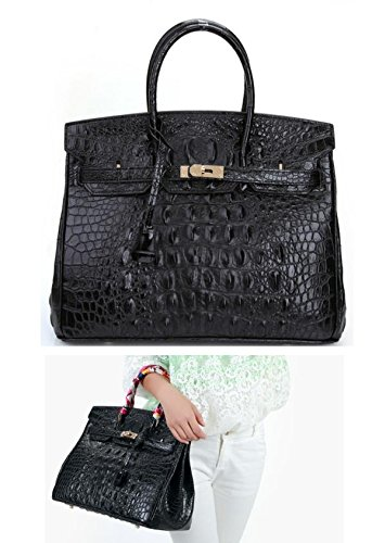 Vintage Alligator Birkin Style Bag Purse Tote Handbag (Brown, 25cm - S) by PRISTINE&BB (Image #5)