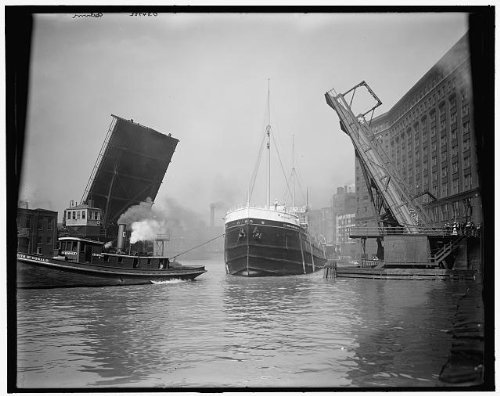 Photo: Freighter passing State Street drawbridge,cargo - Stores Il Street On Chicago State