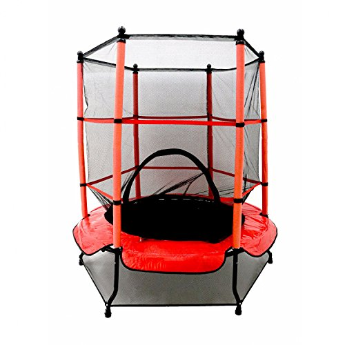 Oypla 55' Kids First Trampoline with Safety Net Enclosure & Red Cover Garden Outdoors