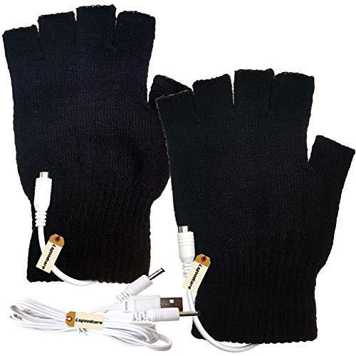 Lsgoodcare Black USB Fingerless Heating Knitting Wool Hands Warm Gloves, Winter USB Powered Heated Glove for Women Girls, Men Boy USB Glove Hand Warmers Great for Christmas