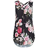 Qisc Womens Tops Women Casual Summer Chiffon Blouse V Neck Sleeveless Top Shirts with Zipper (XXL, Black Floral)