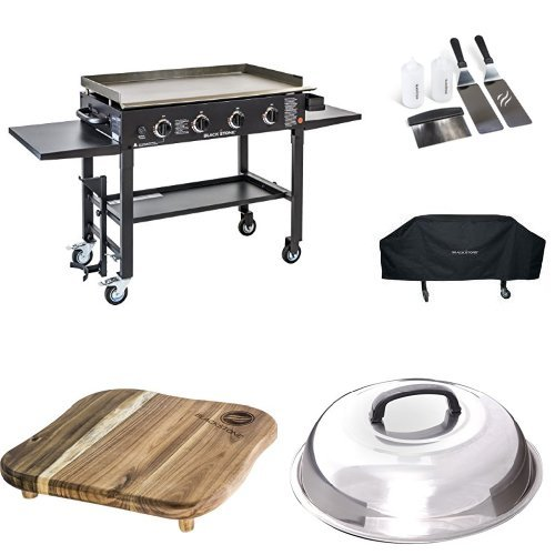 Blackstone 36 inch Outdoor Flat Top Gas Grill Griddle Station Pro Bundle 4-burner Grill, Cover, Accessory Kit, Melting Dome, Cutting Board and Breakfast Kit (Griddle Grill Pro)
