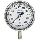 Ashcroft Duralife Type 1009SW Stainless Steel Case Pressure Gauge with Stainless Steel System, Stainless Steel Bourdon Tube and Socket, PLUS! Performance Dampening System, 3-1/2