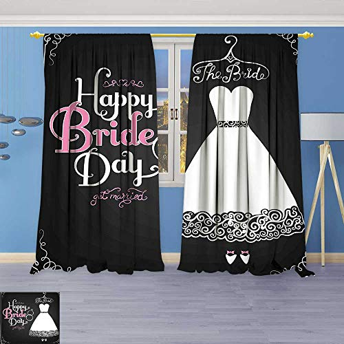 Philiphome Embossed Thermal Weaved Grommet Blackout Curtains Decorations Happy Bride Day Quote Wedding Dress Swirls Art Print Black White and Blocks up to 80% of Sunlight- Premium ()