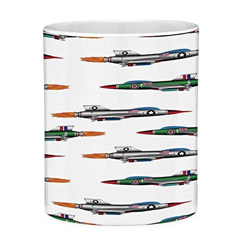 - Lead Free Ceramic Coffee Mug Tea Cup White Airplane Decor 11 Ounces Funny Coffee Mug Collection of Jet fighters Rocket Aviation Attack Fire Bombers Missile Modern UK Model Print Mult