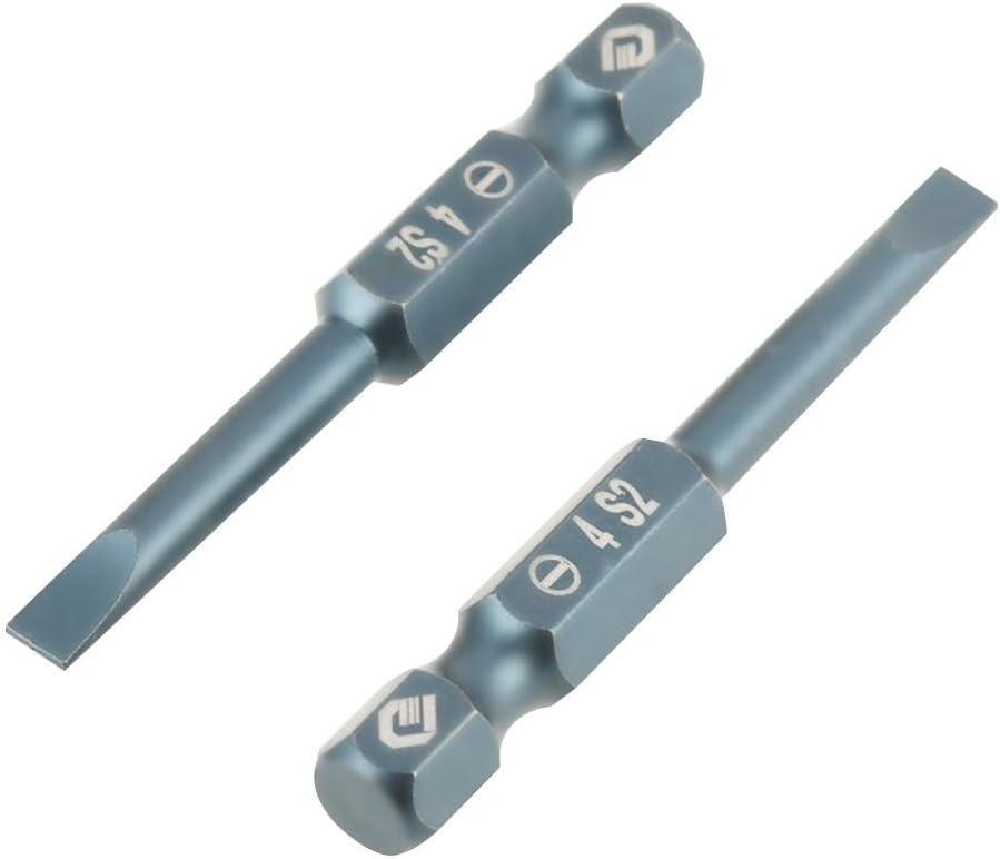 10 St/ücke 50mm Schlitz Schraubendreher Bits Magnetische Flachkopf 1//4 Zoll Sechskantschaft S 2 Stahl H6.3 SL4mm 50