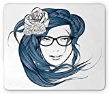 HUNAFIVG Curly Hair Mouse Pad, Girl with The Blue Hair and Flowers Nerd